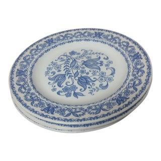 Vintage Blue & White Dinner Plates - Set of 4