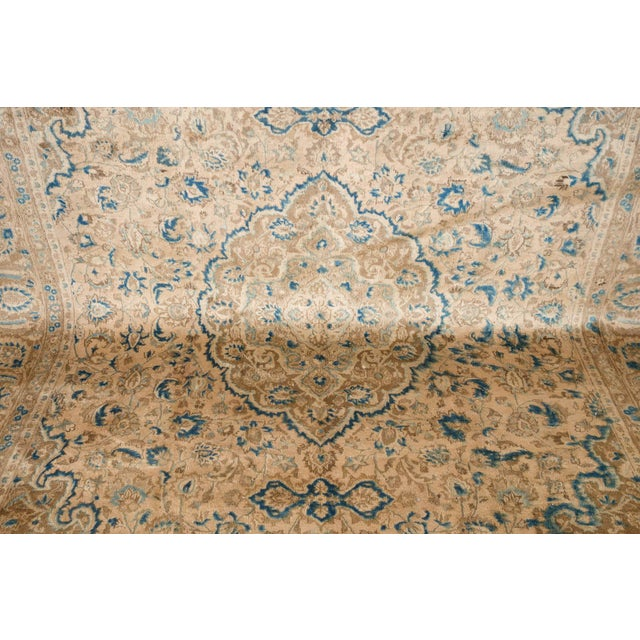 Islamic Persian Cream & Blue Rug - 9′8″ × 12′6″ For Sale - Image 3 of 10