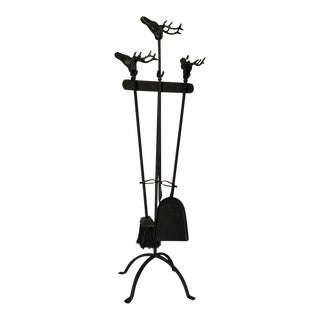 Stag Head Iron Fireplace Tool Set For Sale