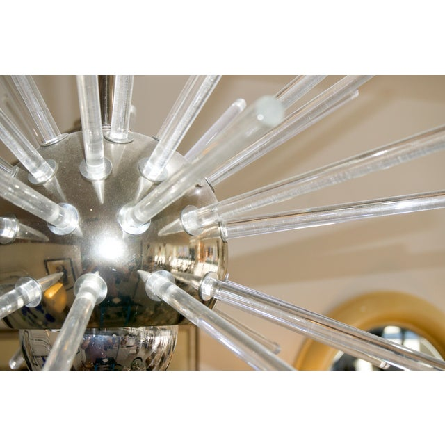 Mid 20th Century Stilnovo 1960s Sputnik Chandelier in Chrome and Lucite For Sale - Image 5 of 12