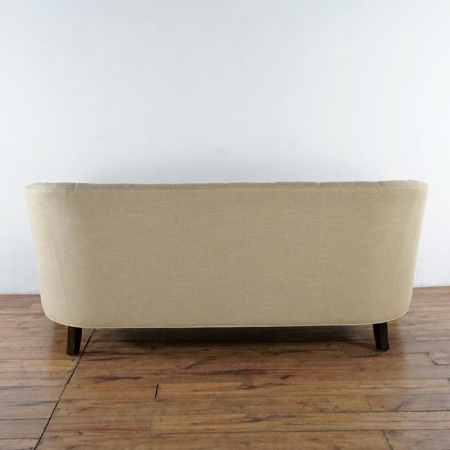 Crate & Barrel Modern Crate & Barrel Contemporary Beige Upholstered Button Tufted Sofa For Sale - Image 4 of 7