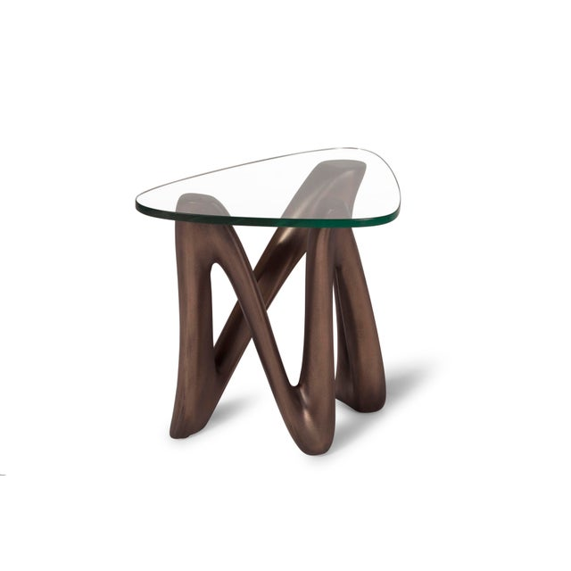Contemporary Amorph Ronia Dark Bronze Side Table With Glass Top For Sale - Image 3 of 9
