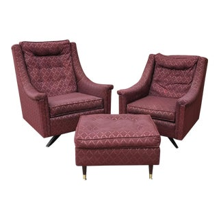 Mid-Century Modern His & Hers Swivel Chairs and Ottoman - 3 Pc. Set For Sale