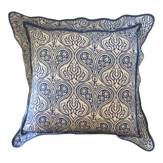 French Blue and White Paisley Print Block Printed Euro Sham For Sale