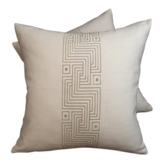 Modern Geo Maze Embroidered Pillows - a Pair For Sale