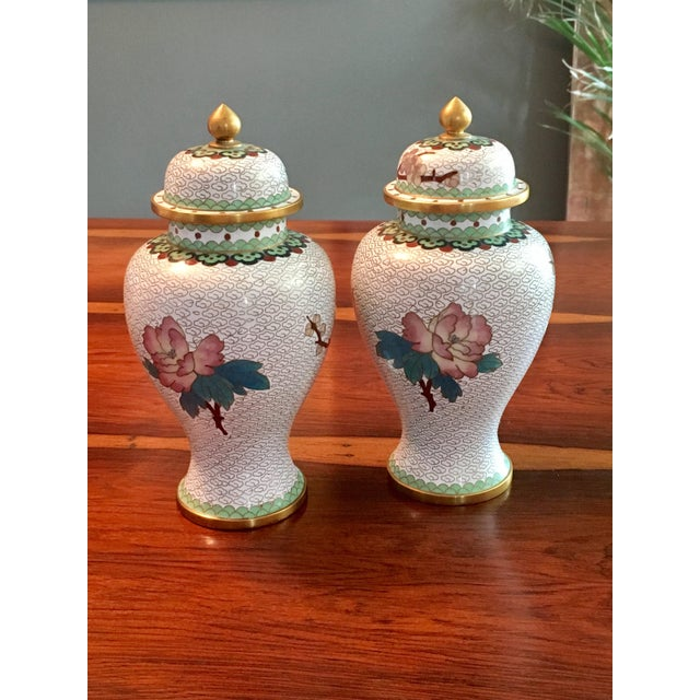 Pair of Chinese Cloisonne Enamel Ginger Jar Vases - Image 5 of 11