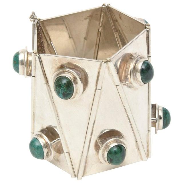 Sterling Silver & Malachite Sculptural Cuff Bracelet Vintage For Sale - Image 10 of 10