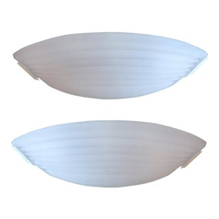 Mazzega - Murano Italy Frosted Glass Sconces - A Pair For Sale