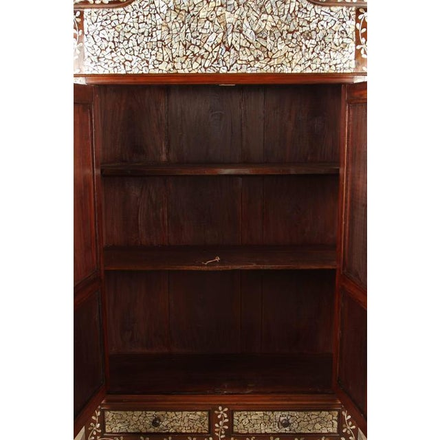 Wood Colonial Rosewood Cabinet with Mother-of-Pearl For Sale - Image 7 of 10