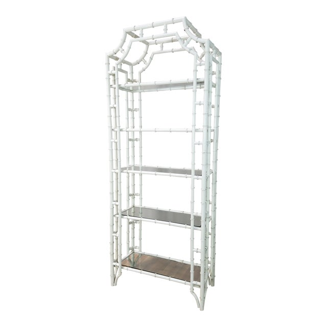 1950s Hollywood Regency White Metal Pagoda Faux Bamboo Etagere For Sale