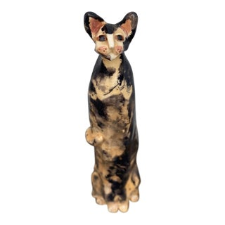 Late 20th Century Studio Pottery Cat Figurine For Sale