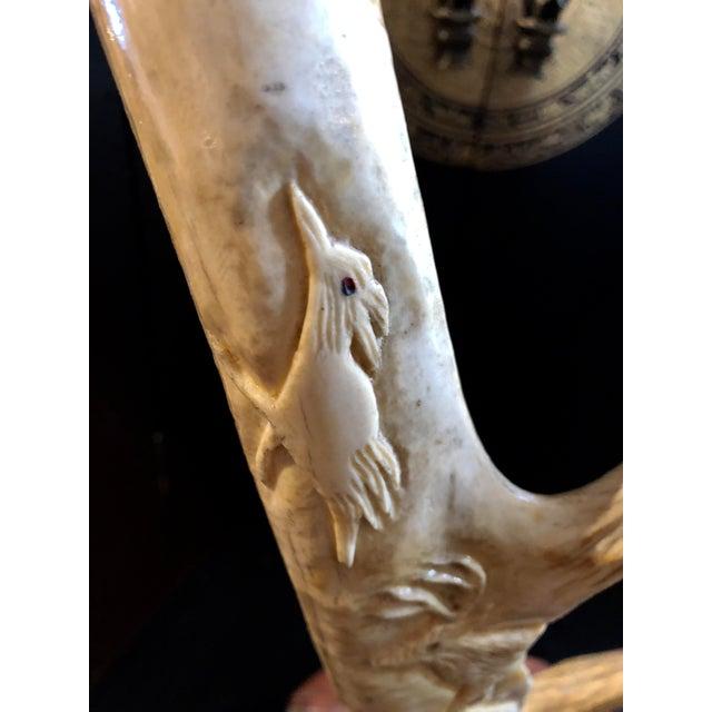 Hand Carved Antler on Wooden Base For Sale In San Francisco - Image 6 of 11