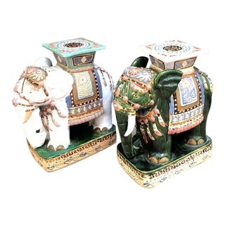1940s Chinoiserie Ceramic Elephant Garden Stools - a Pair For Sale