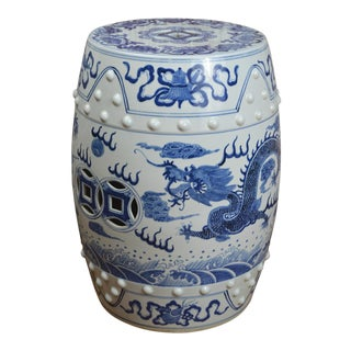 Contemporary Blue and White Porcelain Garden Stool With Dragons For Sale
