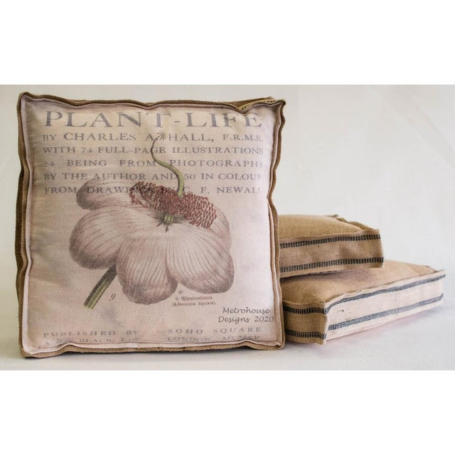 Farmhouse Inspired Multi Layered Botanical Box Pillow fully framed with Burlap The reverse is also constructed with Burlap...