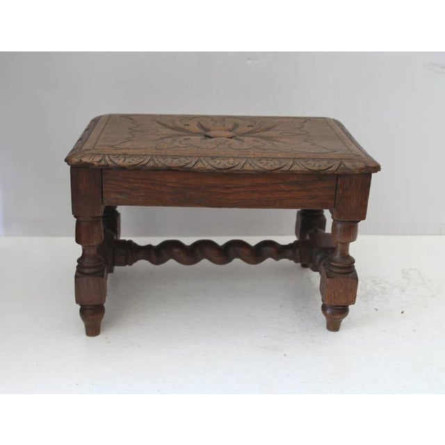 Hand Carved 19Th Century English Foot Stool For Sale In Los Angeles - Image 6 of 7