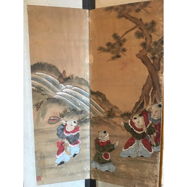 Asian Japanese Edo Period Six Panel Screen: Hotei and Boys, early 19th century For Sale - Image 3 of 8