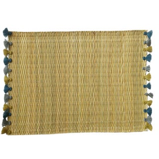Lola Placemat With Tassel, Set of 2 Cerulean Haze For Sale