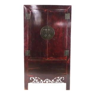 19th Century Chinese Dark Elm Wardrobe Cabinet For Sale