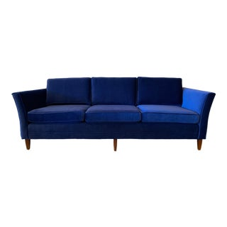Vintage Cobalt Mohair Sofa For Sale
