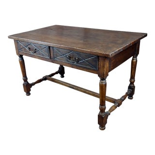 Spanish Revival Two Drawer Writing / Dining Table For Sale
