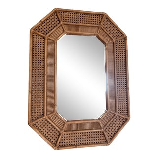 Faux Bamboo and Cane Wall Mirror For Sale