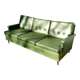 Vintage 1960s Mid-Century Modern Flexsteel Green Naugahyde/Vinyl Sofa For Sale