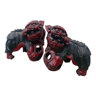 Antique Wooden Foo Dogs-A Pair For Sale