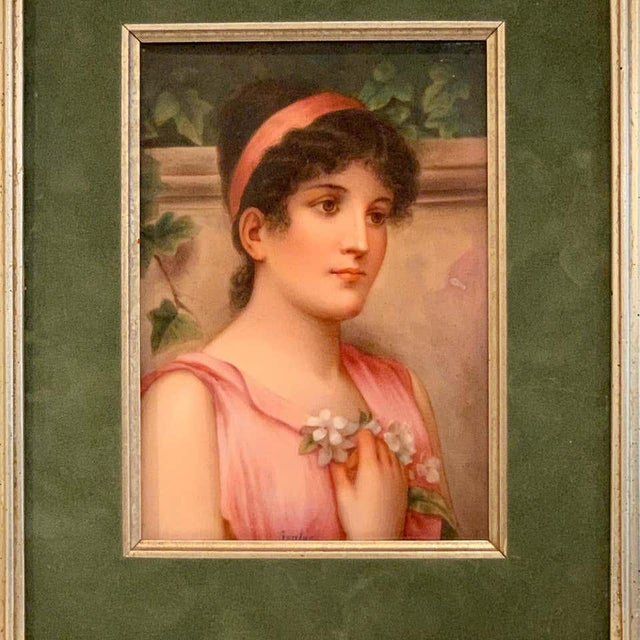 Fine German Painting on Porcelain of a Garden Muse For Sale - Image 10 of 13
