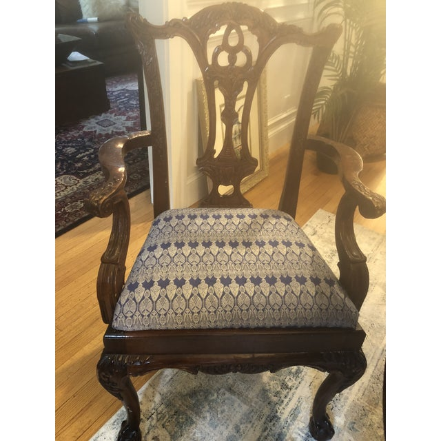 Mahoghany Rectangular Dining Room Table and 8 Carved Chairs Set For Sale In Boston - Image 6 of 8