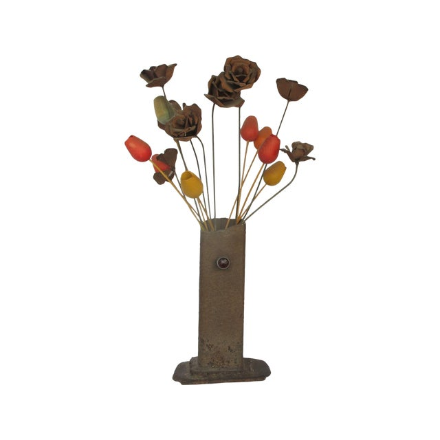 1960s Brutilist Iron Vase & Flowers - Image 1 of 5