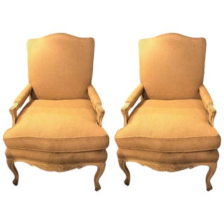 Burlap Upholstery & Painted Framed Armchairs - A Pair For Sale