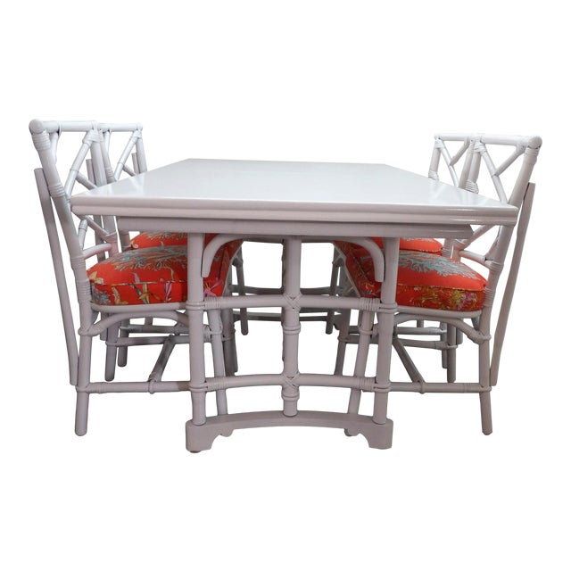 Chinoiserie, Wrapped Bamboo Dining Set - 5 Pieces For Sale