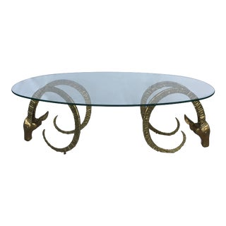 Vintage Brass Rams Heads Oval Glass Coffee Table For Sale