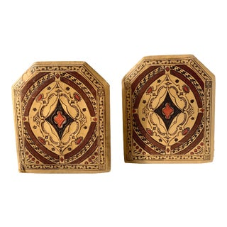 Early 20th Century Embossed and Painted Fabric Bookends - a Pair For Sale
