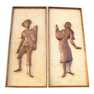 Vintage Witco Style Mid Century Carved Teak Man Woman Wood Wall Art - a Pair For Sale