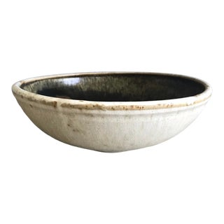 Vintage Late 20th Century Drip Glaze Stoneware Centerpiece Bowl, Signed For Sale