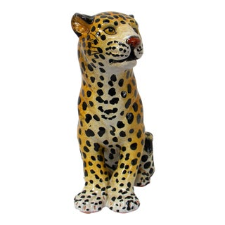 Vintage Italian Ceramic Leopard Figurine For Sale