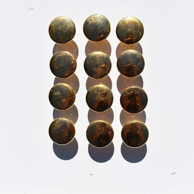 Traditional Gold Round Circular Cabinet Knobs 20th Century in the Style of Sherle Wagner For Sale - Image 3 of 6