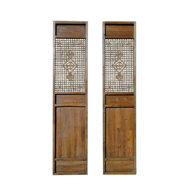 1910s Antique Pair Chinese Tall Blue Flower Carving Screen Panels For Sale - Image 5 of 7