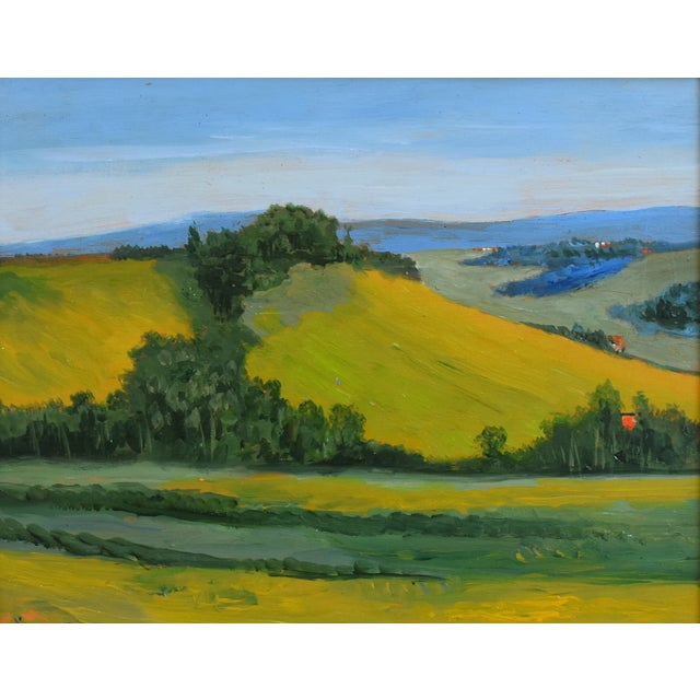 Abstract California Golden Foothills Landscape Oil Painting W/ Gold Leaf Frame For Sale - Image 3 of 8