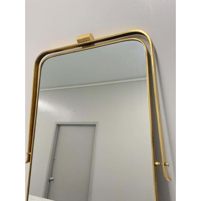 Circa 1950s Italian Brass Frame Mirror, Gio Ponti Attributed For Sale In New York - Image 6 of 12