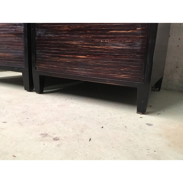 20th Pair of Ebonized Macassar NightStands or Side Tables With One Door For Sale - Image 10 of 12