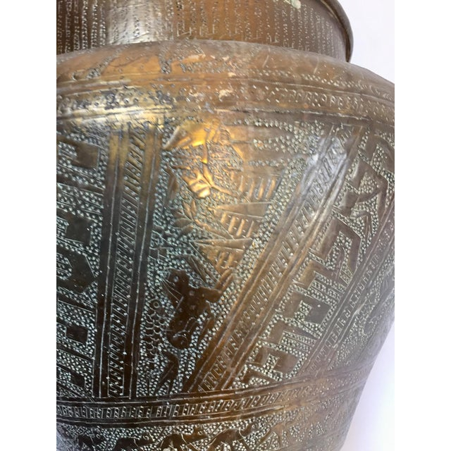 Anglo-Indian Egyptian Hebraique Revival Hand Etched Brass Pot Jardiniere For Sale - Image 3 of 12