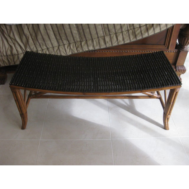This listing has a very beautiful rattan bench for seating or accent for the end of the bed. It has a great look and would...