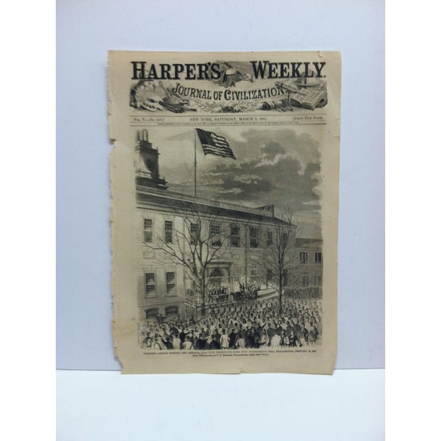 """1861 Antique """"President Lincoln Hoisting the American Flag With Thirty-Four Stars Upon Independence Hall"""" Harper's Weekly Print For Sale In Pittsburgh - Image 6 of 6"""