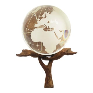 Vintage Glass Globe on Folding Wood Stand For Sale