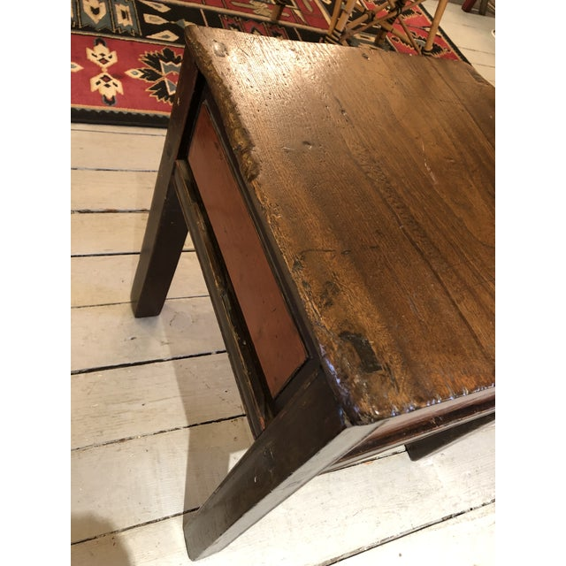 1900 - 1909 Antique Chinese Rustic Wood End Table With Single Drawer For Sale - Image 5 of 12