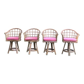 Vintage Rattan Swivel Barrel Chairs - Set of 4 For Sale