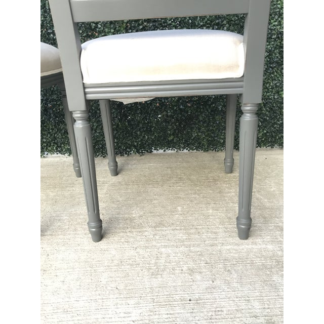 Sarried Ltd Louis XVI Gray Squared Side Chairs - A Pair For Sale In New York - Image 6 of 13